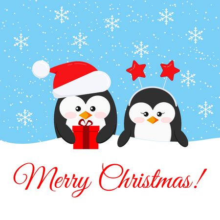 Merry Christmas card with cute penguin boy and girl with x-mas gifts - penguin in Santa Claus red christmas hat and head accessory with stars on snowy background. Flat design vector illustration. Illustration
