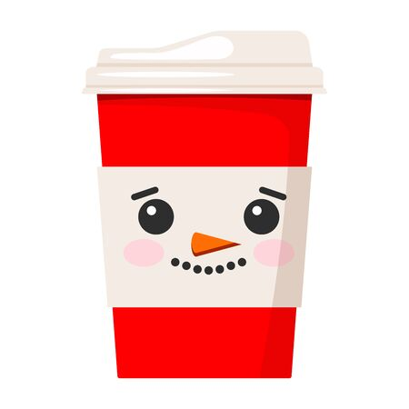 Merry Christmas paper coffee or tea cup decorated with cute snowman face isolated on white background. Vector flat style illustration red winter x-mas drink to go design.