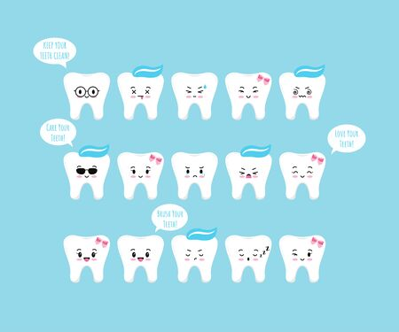 Cute tooth emoji icon set with speach bubbles isolated on blue background. Flat kawaii design girl and boys dental emoticon. Teeth emotions collection. Vector cartoon happy characters illustration. Illustration