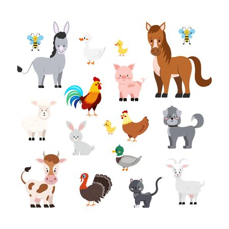Farm animals set isolated on white background. Cute cartoon turkey sheep goat, cow, donkey, horse, pig, cat, dog, duck, goose, hen chicken rooster bee Vector flat design illustration