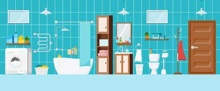 Modern bathroom with toilet and washing machine interior scene. House room with bathroom furniture, mirror, towels, heated towel rail, child duck, sanitary. Flat design cartoon vector illustration.
