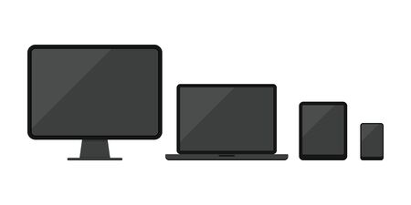 Computer desktop, laptop, tablet pc, smartphone or mobile phone icon set isolated on white background. Modern electronic devices with black screen collection. Flat design vector illustration.