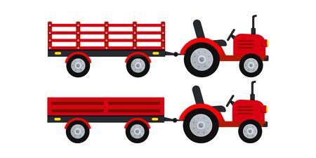 Tracteur agricole avec jeu d'icônes de remorque isolé sur fond blanc. Petit tracteur rouge tirant une remorque ouverte différente. Machines agricoles de dessin animé de conception plate pour l'illustration vectorielle de travail sur le terrain.