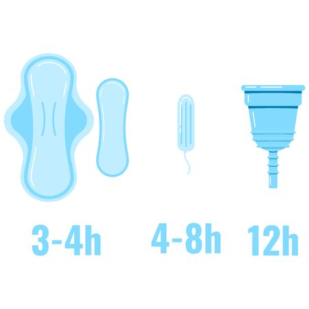 Women sanitary napkin, hygienic tampon, menstrual cup replacement time infographic. Flat design vector illustration feminine intimate hygiene products sign.