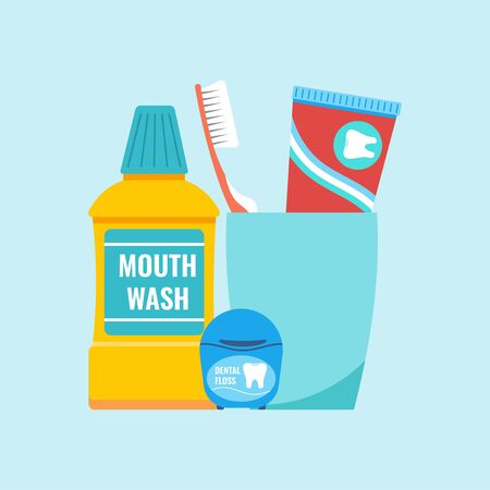 Teeth everyday hygiene tools concept. Dental care cleaning products - toothbrush and toothpaste on plastic glass with mouthwash and dental floss. Vector illustration in flat cartoon style.
