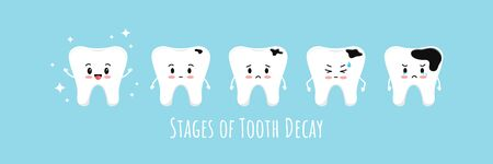 Stages of emoji tooth decay icon set. Cute kawaii teeth on different stages of dental caries development. Flat cartoon emoji character vector illustration. Kids dental hygiene and treatment concept. Vektorové ilustrace