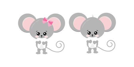 Cute mouse hold tooth in paws set isolated on white bckground. Funny little mice boy and girl took baby tooth concept. Flat design animal adorable wildlife cartoon character vector illustration.