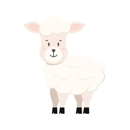 Cute sheep farm animal icon isolated on white background. Cartoon sweet happy lamb character. Vector flat design illustration of fluffy smiling sheep. Çizim