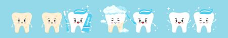 Tooth with yellow plaque becomes white with help of cute healthy friend tooth with toothpaste and toothbrush. Flat design cartoon character vector illustration. Teeth cleaning and whitening concept.
