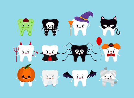 Teeth in Halloween carnival costume vector icon set. Cute tooth ghost vampire witch clown spider pumpkin bat - dental character for dentist halloween card. Flat design cartoon style illustration. Ilustracje wektorowe