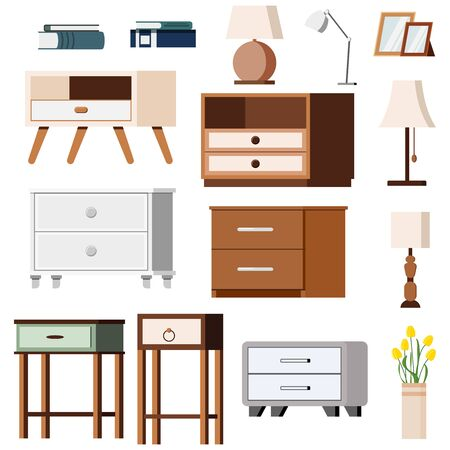 Nightstand bedside with lamps book and flowers icons set isolated on white background. Flat design illustration of different room or office furniture: interior vector signs for web graphic design. Ilustración de vector