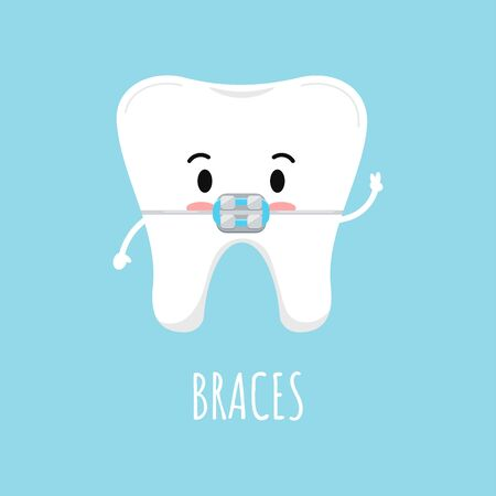 Cute tooth with dental braces emoji character. Dental braces on white tooth treatment concept. Vector flat design kawaii style kid tooth mascot illustration.