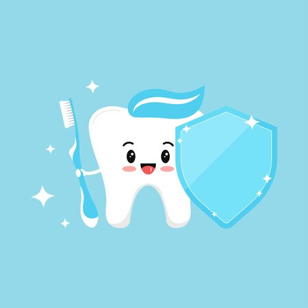 Cute tooth emoji with blue toothbrush and dental shield with paste on head and sparkles. Flat design cartoon kawaii style smiling tooth character vector illustration. Children teeth protect concept.