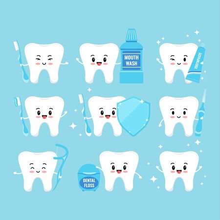 Tooth with oral hygiene products icons set isolated on white background. Tooth sign, mouth wash, dental floss, toothbrush, interdental brush, shield, paste on toothbrush vector flat illustration. Archivio Fotografico - 149561721