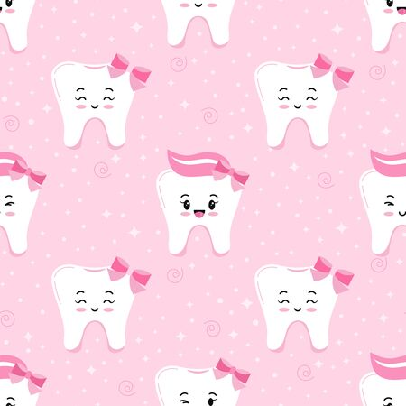 Cute tooth emoji girl seamless pattern. Tooth with bow, paste on head and sparkles vector kids print on pink background. Flat design cartoon kawaii style smiling emoji character endless texture. Archivio Fotografico - 149561722