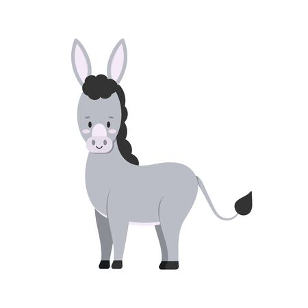 Cute donkey farm animal isolated on white background. Grey funny domestic mule character in standing pose. Flat design cartoon style vector illustration.