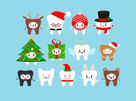 Chistmas cute teeth icon set in carnival costume isolated. Xmas white tooth character - santa, deer, elf, christmas ball, tree, angel, giengerbread man, bunny. Flat design cartoon vector illustration.