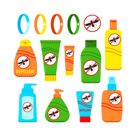 Mosquito repellent cream and spray set isolated on white background in flat style. Different plastic tube with stop mosquito sign. Outdoor protection, repelling flying insects vector illustration. 向量圖像