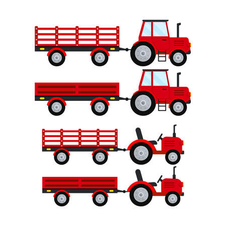 Red farm tractor with open trailer icon set isolatet on white background. Red small and big wheel farmer tractor. Flat design cartoon style agricultural car machine for field work vector illustration.