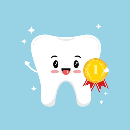 Cute tooth with golden medal with laurel branches and red ribbon isolated on blue background. White healthy tooth with first place or first time visit dentist emblem. Vector flat design illustration.