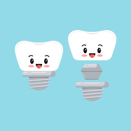 Cute dental implant tooth emoji icon set isolated on blue background. Sweet smilling teeth prosthesis sign with implant composition scheme. Vector flat design cartoon style character illustration. Ilustracja