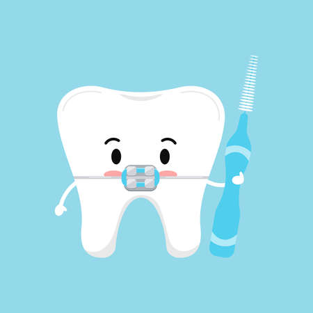 Cute tooth with dental braces and interdental brush in hand hygiene concept isolated on blue background. Tooth sign emoji character vector flat design kawaii style kid tooth mascot illustration.