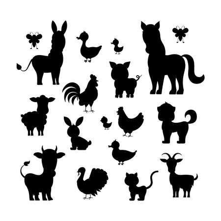 Farm animals black silhouette set isolated on white background. Character contour - cat turkey, sheep, goat, cow, donkey, horse, pig, duck, goose, hen, chicken, rooster Vector flat design illustration