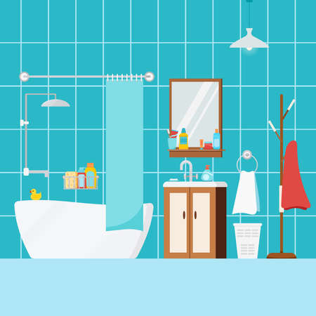 Cozy bathroom home interior with bath. House or hostel room with bathroom furniture, washbasin, curtain, shower, mirror, rack, towel, child duck, sanitary. Flat design cartoon vector illustration