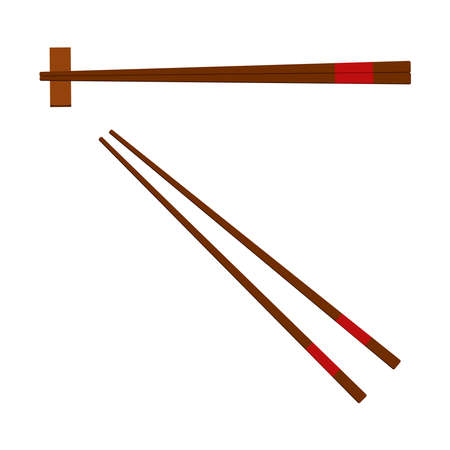 Chinese wooden chopsticks icon set isolated on white background. Pair of chopsticks with and without stand hashioki symbol for food apps, menu. Flat design cartoon style vector illustration.