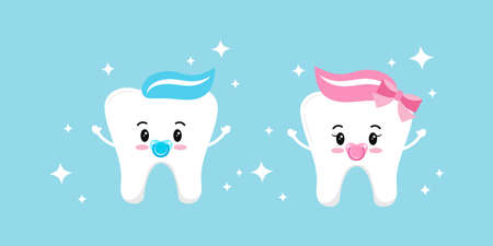 Cute baby tooth boy and girl with dummy vector set isolated on background. Collection of sweet and funny teeth signs. Flat cartoon style first tooth design elements. Vector character illustration.
