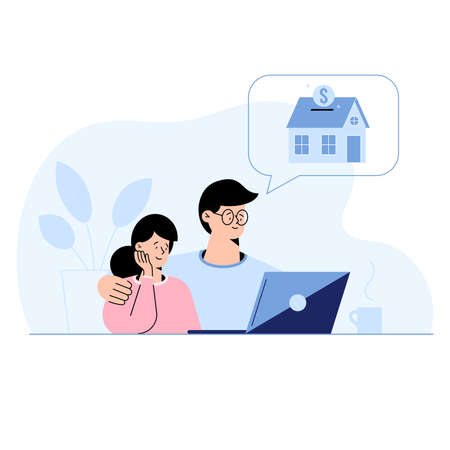 Young couple sitting at home choosing a suitable house mortgage option in a laptop. Man and woman select house to buy, rent, bank to approve mortgage. Flat design home loan concept vector illustration