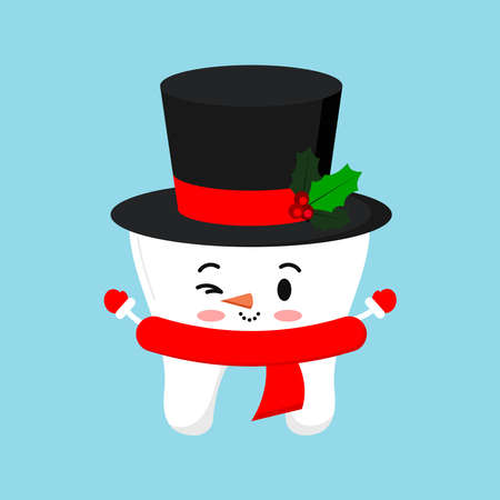 Cute chistmas tooth in snowman costume - black hat with mistletoe red scarf icon in cartoon flat style isolated on background. Happy New Year costume graphic design element vector illustration. Vettoriali