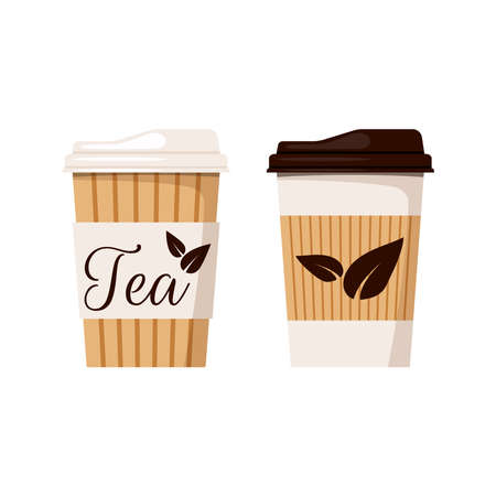 Tea cup with cap icon set isolated on white background. Front view, designed tea leaves, disposable kraft brown, white paper flat cartoon style vector illustration. Clip art take away drink packaging. Ilustração