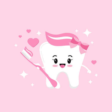 Cute tooth girl in love with pink toothbrush paste with bow hearts and sparkles. Flat design cartoon smiling character vector illustration. Happy love tooth hold brush. Children teeth hygiene concept.
