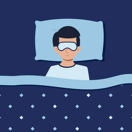 Man or boy with sleep mask sleeping at night in pajamas in bed at home. Good night top view concept. Deep healthy sleep. Flat design cartoon style illustration. View from above.