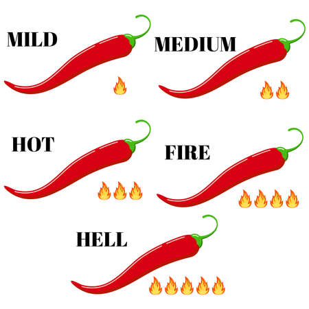 Red chilli pepper with hot rate fire flame icon  set isolated on white background. Flat design cartoon style infographic level of spiciness illustration. Mild, medium, hot, fire, hell strength Illusztráció