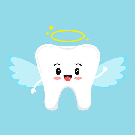 Cute tooth emoji angel isolated on blue background. Flat design cartoon kawaii style smiling character in angel with halo and wings carnival costume vector illustration. Children teeth hygiene concept