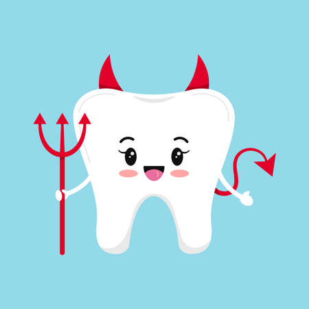 Cute tooth emoji devil isolated on blue background. Flat design cartoon kawaii style smiling character in evil with horns, tail and trident carnival costume vector illustration.