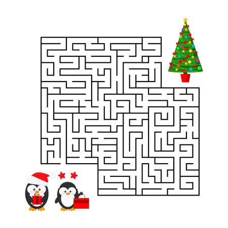 Christmas maze game - labyrinth with cute boy and girl couple with x-mas gifts for kids education. Help penguin in santa hat find right christmas tree. Flat design mind road game vector illustration Illustration