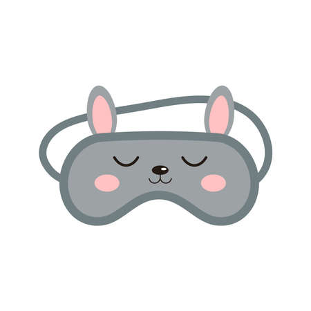 Bunny rabbit sleep beauty mask icon isolated on white background. Eye protection wear accessory - cute animal rabbit with ears. Relaxation blindfold, eye cover flat design cartoon vector illustration.