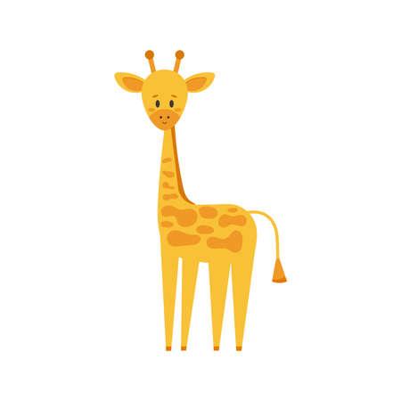 Cute little giraffe in standing pose isolated on white background. Funny smiling african giraffe animal logo. Vector flat design cartoon safari character illustration. Logos