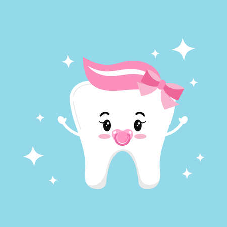 Cute baby tooth girl with pink dummy and bow vector icon isolated on background. Sweet and funny tooth sign. Flat cartoon style first tooth design elements. Vector character illustration.