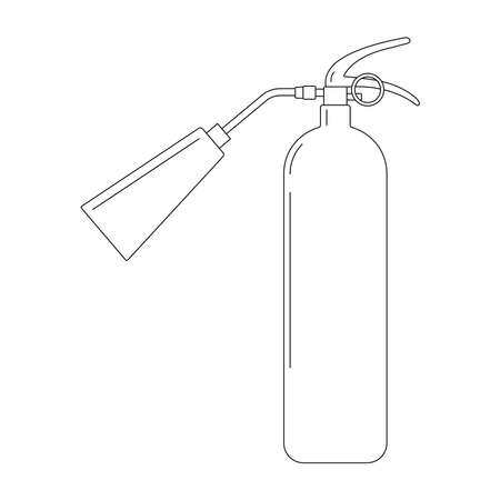 Fire extinguisher with nozzle icon in linear style. Single black line silhouette portable fire equipment sign isolated on white background. Vector illustration with editable stroke.