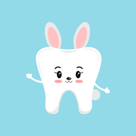 Cute Christmas tooth in bunny rabbit costume with ears icon in flat cartoon style isolated on background. Happy New Year costume graphic design element vector illustration.