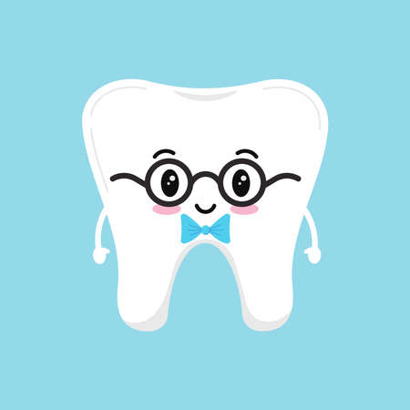 Stylish cute tooth in glasses with blue bow tie. Vector illustration happy healthy boy character. Flat design cartoon style tooth concept of children s dentistry.  イラスト・ベクター素材