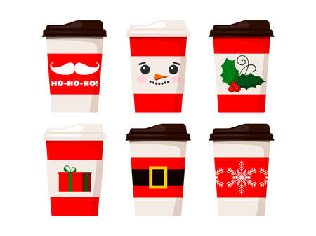 Merry Christmas coffee cups isolated on white background. Coffee tea mug decorated snowman face, santa claus belt, snowflake, mistletoe, gift illustration. Vector flat winter x-mas drink to go design.