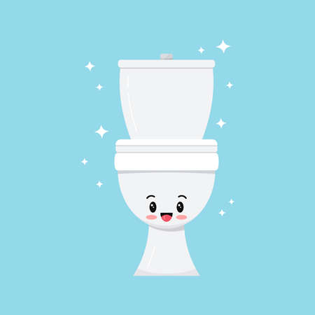 Cute white smilling toilet bowl character vector icon. Sweet happy emoticon of ceramic bathroom toilet. Flat design cartoon water closet illustration isolated on white background. 向量圖像