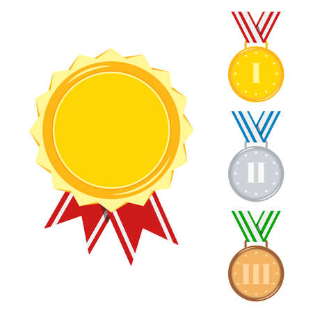 Medals set isolated on white background. Golden, silver, bronze medal with red, stripped, blue, green ribbon. Icon sign first, second, third place and gold certificate flat cartoon vector illustration Иллюстрация