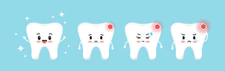 Tooth pain stages icon set. Cute sick teeth on different stages of toothache development. Flat cartoon emoji character with hurt vector illustration. Kids dental hygiene and treatment concept. Ilustración de vector