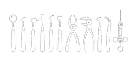 Dental tools line art icon set isolated on white background. Stomatology instruments collection scraper, mirror, forcep, explorer, elevator. Dentist tools flat editable linear vector illustration.